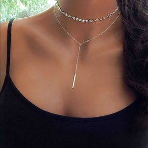 Jewelry - 4 for $25 coin sequin choker layered bar necklace